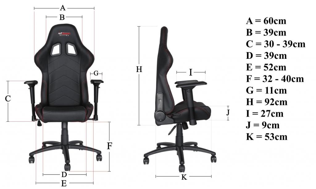 Tamaño silla gt omega pro